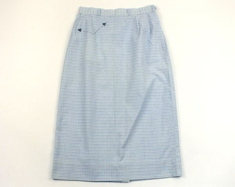 vintage 1950s pinup pencil skirt • blue & white cotton