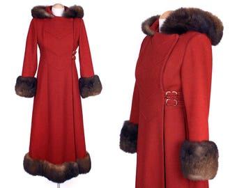 vintage princess coat • 1960s 70s fur trim coat with dramatic hood
