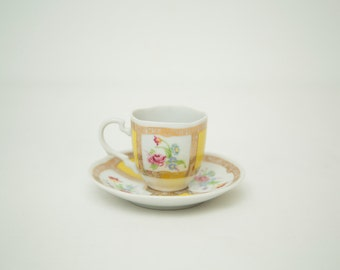 Vintage 1985 Avon European Tradition Espresso Cup and Saucer - Yellow, Gold and Flower Pattern