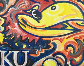 24x30 Officialy Licensed University of Kansas Jayhawks Painting by Justin Patten Sports Art College Baseball Football Basketball