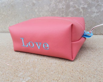 Pink Vinyl Embroidered Cosmetics Case, Pink Vegan Leather Makeup Bag, COS97795
