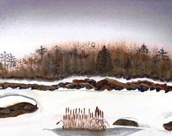 Bullrushes Watercolor Print
