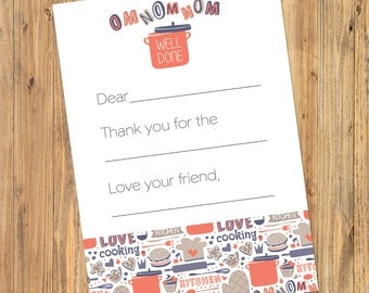 Printable Girls Cooking Chef Birthday Fill In Thank You Note 5x7