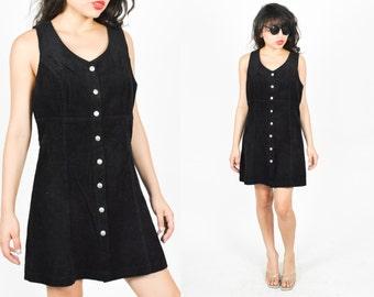 1990's BLACK CORDUROY MINIDRESS.  90's Grunge. V Neckline. 90's Grunge Black Mini Dress. Size Small Medium.  Minimalist Mod Minimal.