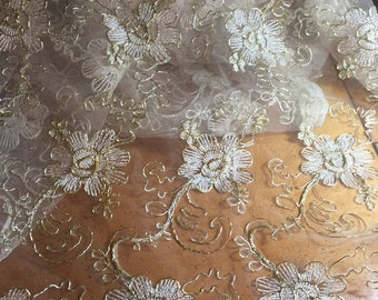 Gold Lace Embroidered Fabric