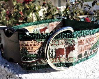 """Large Dog Collar Bear Moose Camping 1.5"""" width side release buckle - upgrade to martingale"""