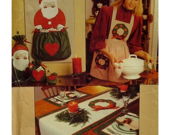 Xmas Decor Pattern, Table Runner, Pot Holders, Card Holder, Placemat, Napkin, Napkin Ring, Gift Bags, Apron,  Vogue No. 8753 UNCUT