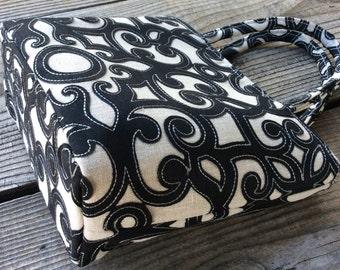 Black Scroll Mini Tote Bag