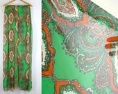 Fabric, 36 in x 6 yds, Sheer Gauze, Diamond Medallion Pattern, Green, Orange, White