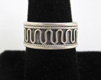 925 Sterling Silver Band Ring - Vintage, Adjustable