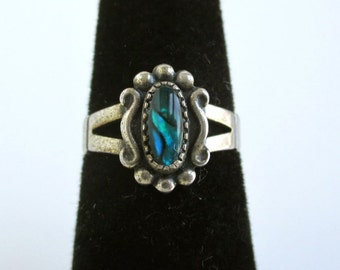 Sterling Silver Southwest Ring w/ Iridescent Stone - Vintage w/ Tag, Small Size 4