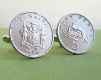 Jamaica Cuff Links - Vintage Repurposed Silver Tone Coins, Front & Back