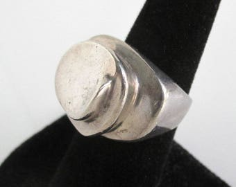 Sterling Silver Modernist Ring - Vintage Size 6 1/2, Heavy - 20.0 grams