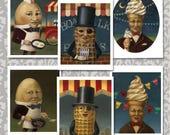 Retro Food Cards,  Vintage Food Icon Notecards, Mr. Peanut, Mr. Softee,  Humpty Dumply, Mid Cetury, Anthropomorphic Food,