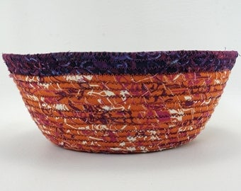 Round Coiled Fabric Basket: Rust with Purple Accents...Decorative and Functional