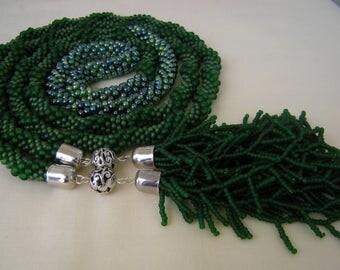 Long Crocheted Dark Green Beaded Necklace/ Emerald Green Tassel Necklace/Green Silver Beaded Lariat