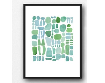 Original watercolor painting sea glass, pebbles painting watercolor turquoise, green, blue watercolor little painting