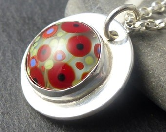 Sterling Silver Poppy Necklace - Handmade Sterling Silver & UK Lampwork Glass