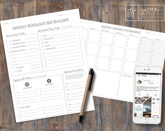 SALE Bosslady Social Media Business Builder Worksheet & Calendar Instant Download
