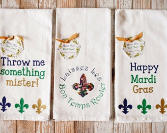 New Orleans Mardi Gras Themed Dish Towels