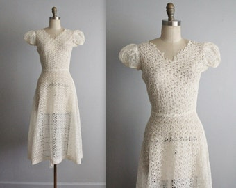 30's Eyelet Dress // Vintage 1930's Sheer Eyelet Organdy Wedding Day Dress XS