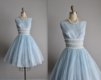 50's Flocked Chiffon Dress // Vintage 1950's Baby Blue Swiss Dot Flocked Chiffon Full Party Prom Dress XS