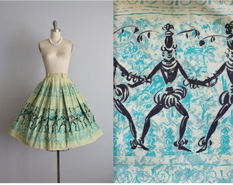 50's Novelty Print Skirt // Vintage 1950's Dancer Print Cotton Full Pleated Skirt S