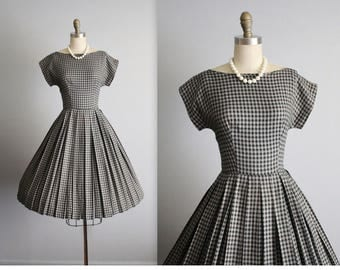 50's Dress // Vintage 1950's Black Grey Check Casual Day Full Pleated Dress XS