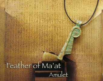 The Feather of Maat Amulet - Ancient Egyptian Symbol of Truth, Balance, Order and Justice - Handcrafted Amulet with Aged Brass Patina Finish