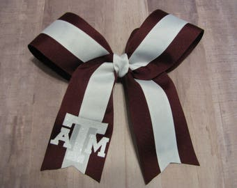 3600 maroon and white ATM Cheer bow
