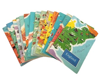 Set of 14 Vintage Around the World Booklets