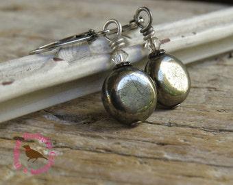 Dark Gray Hematite Dangle Earrings, Hematite Drop Earrings, Dark Gray Dangle Earrings, Petite Gray Disc Earrings, by MagpieMadness for Etsy