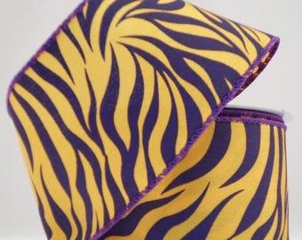 20% OFF Purple Yellow Tiger Print Silk Ribbon U303-1149, College Ribbon, Mesh Supplies, Poly Mesh Supplies