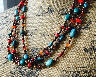 Beaded Colorful Necklace, Turquoise Necklace, Red Corral, Freshwater Pearls, Carnelian Chips, Triple Strand, Sundance Inspired