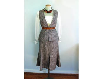 1970s Boucle Tweed Suit // Vest and Skirt // small