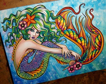 ORIGINAL PAINTING - Beautiful Colorful Pin Up Girl Watercolor Painting - Mermaid by Carissa Rose 10.2x12.6 inches