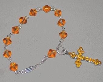 """Golden Topaz Rosary Bracelet 7.5"""""""