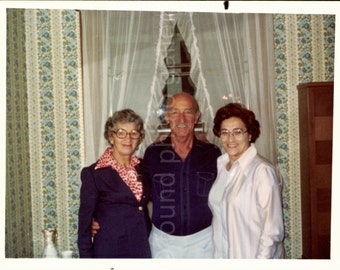 Man and Two Women Standing in Blue Flowered Wallpaper Room, Vintage Photo, Color Photo, Found Photo, Vernacular Photo, Snapshot, Snapshot