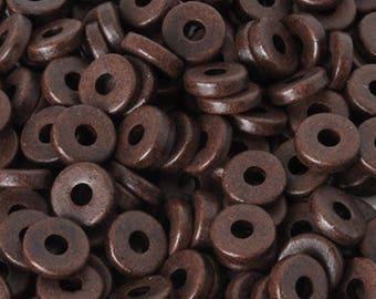 Ceramic Beads-8mm Round Disc-Burnt Umber-Quantity 50