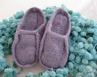 Lavender Wool Knit Felted Moccasin Clog Slipper, Ladies Sizes 5 6 7 8 9 10, Made to Order, Slip in Moc, Cozy Handmade House Slippers, mules