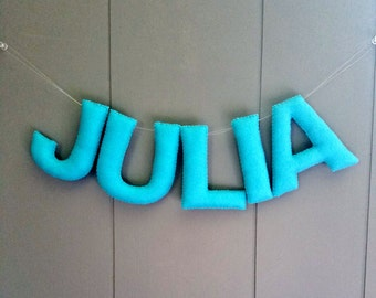 Personalized Felt Name Banner Nursery Garland Bunting / Custom Sign / Baby Gift Decor / Childrens Room / Hanging Wall Letters - One Color