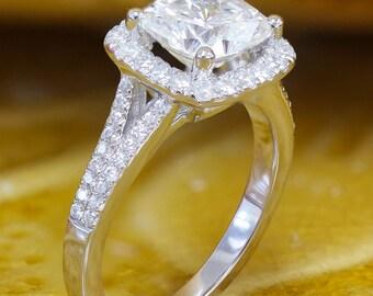 EGL USA H-VS2 18K White Gold Cushion Cut Diamond Engagement Ring Style, Anniversary, Wedding, Propose, Double Halo, Prong Set 2.20ct
