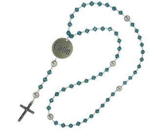 Crystal Personalized Rosary with Stamped Medal with Baptism/ Communion/ Christening or any date and name, white or any color swarovski