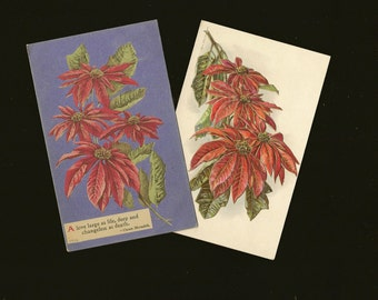 Pair of Red Poinsettia Vintage Christmas Postcards 1911 One With Owen Meredith Verse