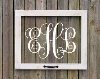 Farmhouse Window, 3 letter monogram, Faux window, anniversary gift, farmhouse wall art, rustic window art, housewarming gift, wedding gift