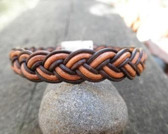 Woven Leather Bracelet - Fallen Timber