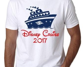 "Disney Cruise Family Shirt - MENS Mickey Mouse Ship with ""Disney Cruise 2017"" White T-Shirt or Tank - Disney Family Shirts"