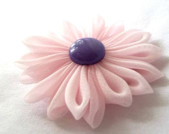 Cute Pink and Purple Kanzashi Hair Flower Clip