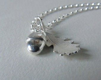 Small silver acorn and oak leaf necklace