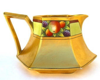 Antique Cider Pitcher, Stouffer Gold Fruit, Limoges Signed, B & C, Vintage Lemonade Jug, Hand Painted, Early 1900s